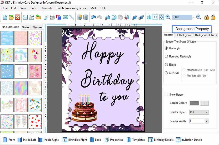 Screenshot of Birthday Card to Print Out